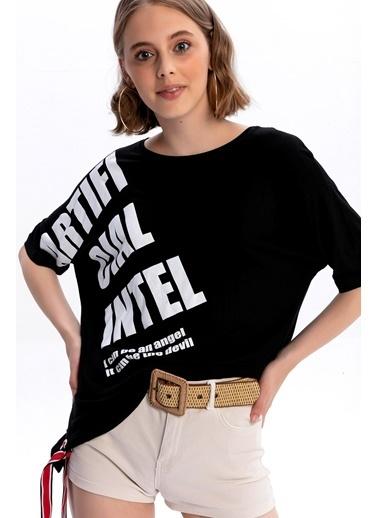 Emjey Ön Omuz Baskılı Yarasa Kol T-Shirt Siyah